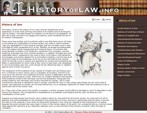History of Law website
