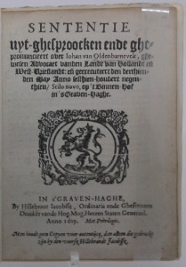 One of the early editions of the verdict on Oldenbarnevelt